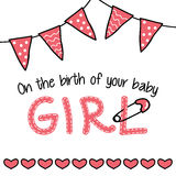 Greeting card for a baby girl arrival Royalty Free Stock Photo