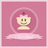 Greeting card for baby girl arrival Stock Images