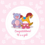 Greeting card on baby shower. Decorative background with illustration of baby toys royalty free illustration