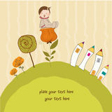 Greeting card with a baby sitting on a flower Stock Photography
