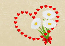 Greeting card background with garland of red hearts and daisies. Royalty Free Stock Photos