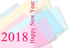Greeting Card Background And Gift Tags.Happy new year. 2018 Happy New Year greeting card.Colorful backgrounds stock illustration