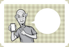 Greeting card with bald man pointing at smartphone Royalty Free Stock Image