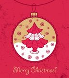 Greeting card with ball and Christmas tree Royalty Free Stock Images