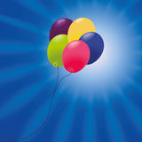 Greeting card with ballons. Greeting card with many colored balloons Stock Photography