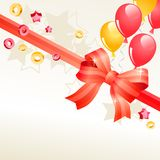Greeting card with balloons. Greeting birthday card with red bow and balloons Stock Photography