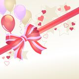 Greeting card with balloons. Greeting card with red bow and pink balloons Royalty Free Stock Images