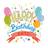 Greeting card with balloons. Beautiful birthday card with balloons and confetti Stock Image