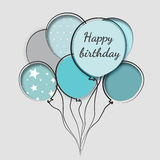 Greeting card with balloons birthday Stock Images