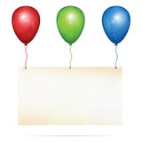 Greeting card on balloons. Blank greeting card with place for custom text hanging on three color balloons: red, green, blue. Vector Illustration, on white stock illustration