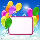 Greeting card with balloons Stock Photos