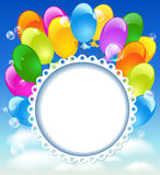 Greeting card with balloons. In the blue sky Royalty Free Stock Image