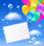 Greeting card with balloons. In the blue sky Royalty Free Stock Images