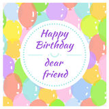 Greeting card with balloons. Greeting card with colorful balloons Stock Photo