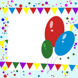 Greeting Card. Balloons, Confetti and Garlands. Royalty Free Stock Photos