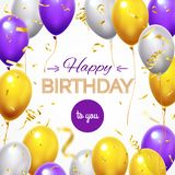 Greeting card with balloons. Happy birthday shining flying helium balloon and golden shiny confetti for greetings cards royalty free illustration