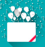 Greeting card with balloons for happy birthday, trendy flat styl Stock Image