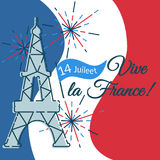 Greeting card, banner with Eiffel tower, fireworks, flag for the. Day Bastille in France Royalty Free Stock Photos