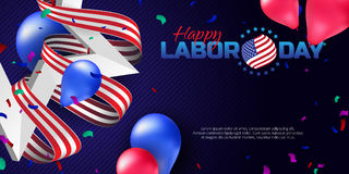 Greeting card or banner in horizontal orientation to Happy Labor Day with balloons, white star and striped ribbon Royalty Free Stock Image