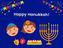 Greeting card or banner for the Jewish holiday of Hanukkah.The traditional symbols of the icon are the dridel, sweets vector illustration