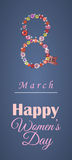 Greeting card or banner for 8 march. Happy Women's Day Stock Images