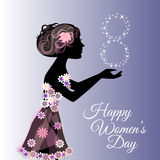 Greeting card or banner for 8 march. Happy Women's Day Royalty Free Stock Photo