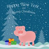 Greeting card banner with a pink pig in the forest with gift box stock images