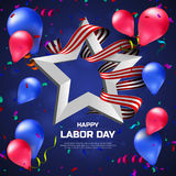 Greeting card or banner to Happy Labor Day with balloons, white star and striped ribbon Stock Photography