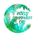 Greeting card or banner to World environment day 2017. Earth globe of tropical leaves. Use this vector illustration for design your website or print Stock Photography