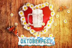 Greeting card of bavarian oktoberfest with heart and marguerites Royalty Free Stock Image