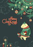 Greeting card,bear and bird under the christmas Stock Image