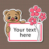 Greeting card with bear and flowers Stock Image