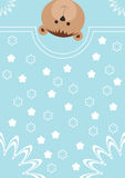 Greeting card with bear and flowers. Royalty Free Stock Photos