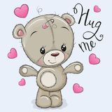Greeting card Bear Girl with hearts royalty free illustration