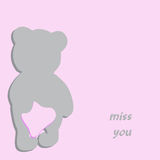 Greeting card. With bear holding pink heart behind his back Royalty Free Stock Photo