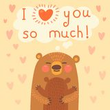 Greeting card for the bear mother and cub. Royalty Free Stock Photo