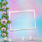 Greeting card with beautiful branch orchid and pearls Stock Photos