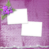 Greeting card with beautiful branch orchid and pearls Royalty Free Stock Image