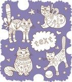 Greeting card with beautiful cats Stock Photos