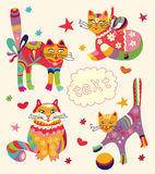 Greeting card with beautiful cats Royalty Free Stock Photo