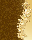 Greeting card with beautiful golden roses, Royalty Free Stock Photos