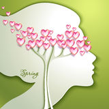 Greeting Card. Beautiful young woman. With flowers in hair Royalty Free Stock Photo