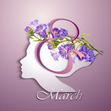 Greeting Card. Beautiful young woman. With flowers in hair Stock Photos