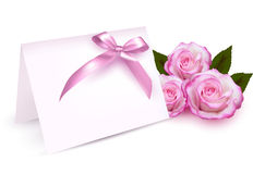Greeting card with beauty roses and pink bow. Royalty Free Stock Images