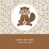 Greeting card. beaver Stock Photography