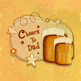 Greeting card with beer for Fathers Day celebration. Stock Image