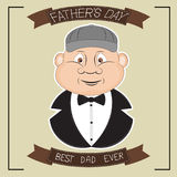 Greeting card: Best dad ever. Cute mans face for fathers day celebrations. Vector illustration of poster Sticker on t-shirt Stock Photography