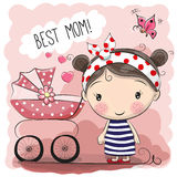 Greeting card Best mom. With baby carriage vector illustration