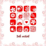 Greeting card best wishes. Flowers and hearts Stock Images