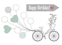 Greeting card with bicycle, balloons and flowers isolated on whi Stock Photos